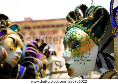 Venetian masks for sale at street. Venice (Italy).