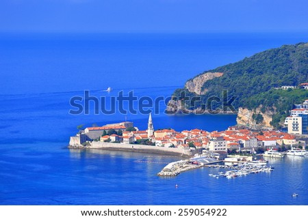 Venetian old town and harbor on the blue Adriatic sea, Budva, Montenegro