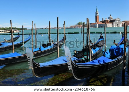 Venetian panorama with gondolas overlooking the Grand Canal in Venice, Italy