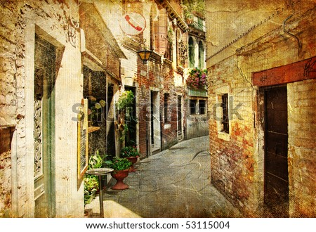 Venetian streets  - artwork in painting style - stock photo