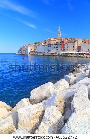 Venetian town and sunny pier near the Adriatic sea, Rovinj, Croatia - stock photo