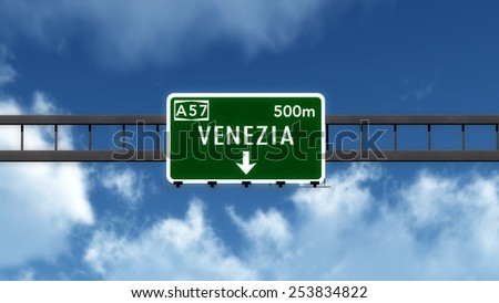 Venezia Italy Highway Road Sign 3D Illustration