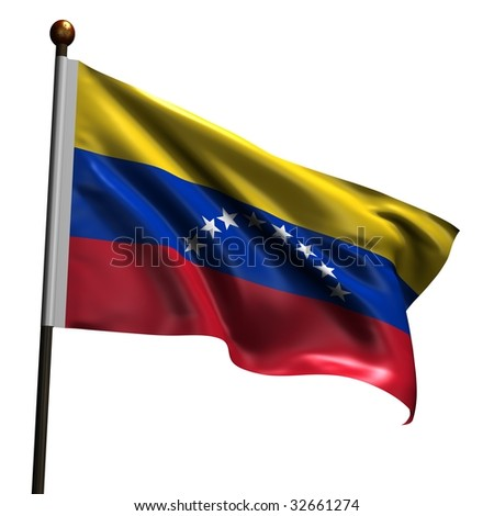 Venezualean flag. High resolution 3d render isolated on white. - stock photo