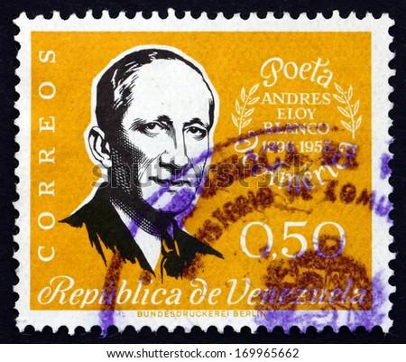VENEZUELA - CIRCA 1960: a stamp printed in the Venezuela shows Andreas Eloy Blanco, Poet and Politician, circa 1960 - stock photo