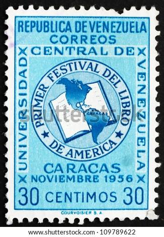 VENEZUELA - CIRCA 1956: a stamp printed in the Venezuela shows Book and Map of the Americas, Book Festival of the Americas, circa 1956 - stock photo