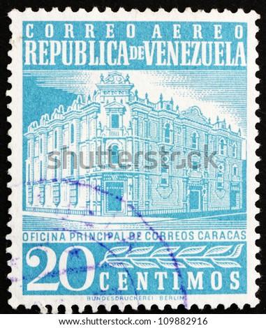 VENEZUELA - CIRCA 1958: a stamp printed in the Venezuela shows Main Post Office, Caracas, circa 1958 - stock photo