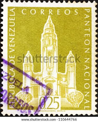 VENEZUELA - CIRCA 1960: a stamp printed in the Venezuela shows National Pantheon, Caracas, Venezuela, circa 1960 - stock photo