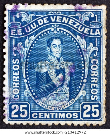 VENEZUELA - CIRCA 1914: a stamp printed in the Venezuela shows Simon Bolivar, Liberator, Revolutionary, Portrait, 2nd President of Venezuela, 1813 - 1814, circa 1914 - stock photo