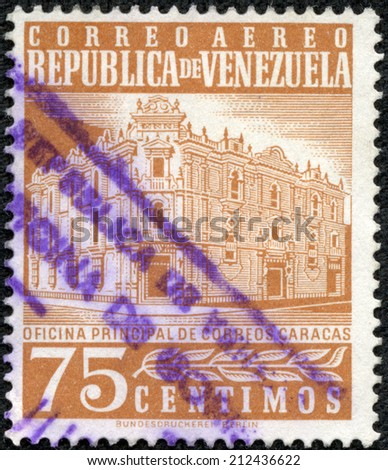 VENEZUELA - CIRCA 1953: A stamp printed in Venezuela shows Postoffice in Caracas, circa 1953