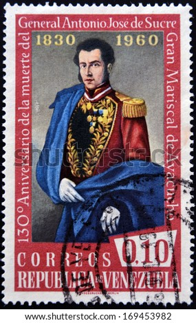 VENEZUELA - CIRCA 1960: A stamp printed inVenezuela shows Antonio Jose de Sucre, circa 1960 - stock photo