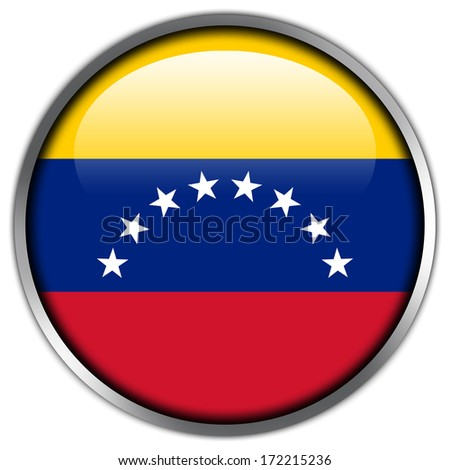 Venezuela Flag glossy button - stock photo