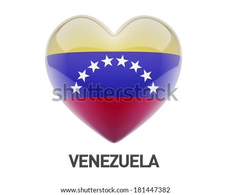 Venezuela Flag Heart Icon isolated on white background - stock photo