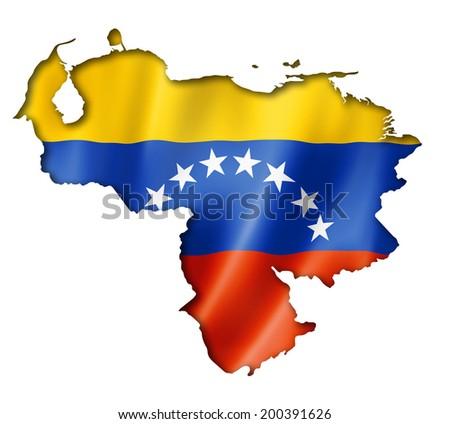 Venezuela flag map, three dimensional render, isolated on white - stock photo