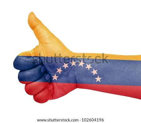 Venezuela flag on thumb up gesture like icon - stock photo