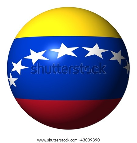 Venezuela flag sphere isolated on white illustration - stock photo