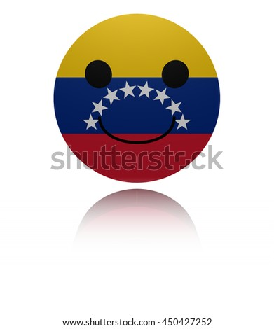 Venezuela happy icon with reflection 3d illustration - stock photo