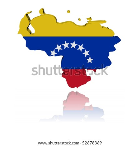 Venezuela map flag 3d render with reflection illustration - stock photo