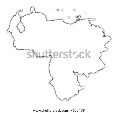 Venezuela outline map with shadow. Detailed, Mercator projection. - stock photo