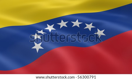 Venezuelan flag in the wind. Part of a series. - stock photo