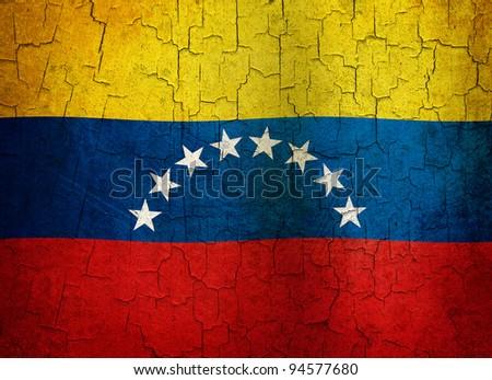 Venezuelan flag on a cracked grunge background - stock photo