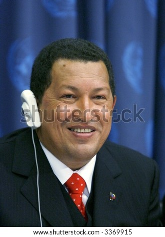 Venezuelan president Hugo Chavez at the United Nations in New York - stock photo