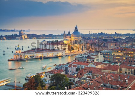 Venice. Aerial view of the Venice with Basilica di Santa Maria della Salute taken from St. Mark's Campanile. - stock photo