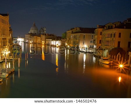 Venice at night grand channel photo. Long exposure By Night.  - stock photo