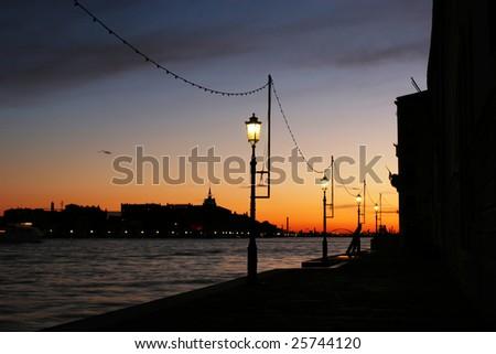 Venice at night (Italy) - stock photo