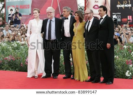 VENICE - AUG 31: Grant Heslov, Evan Rachel Wood, Marisa Tomei, Paul Giamatti, Philip Seymour Hoffman, George Clooney at the 68th Venice International Film Festival in Venice,Italy on August 31, 2011. - stock photo