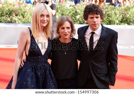 VENICE - AUGUST 31:Dakota Fanning, Kelly Reichardt, Jesse Eisenberg at 'Night Moves' premiere at the 70th Venice Film Festival on August 31, 2013 in Venice. - stock photo