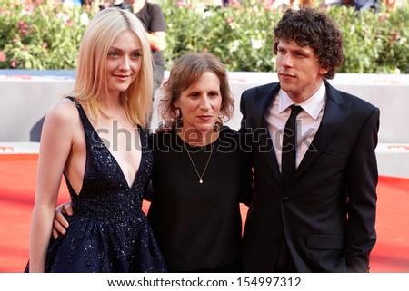 VENICE - AUGUST 31:Dakota Fanning, Kelly Reichardt, Jesse Eisenberg at 'Night Moves' premiere at the 70th Venice Film Festival on August 31, 2013 in Venice.