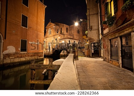 Venice back streets at night