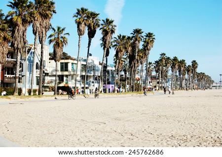 Venice beach bike trail - stock photo