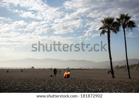 Venice beach panoramic view in Los Angeles  - stock photo