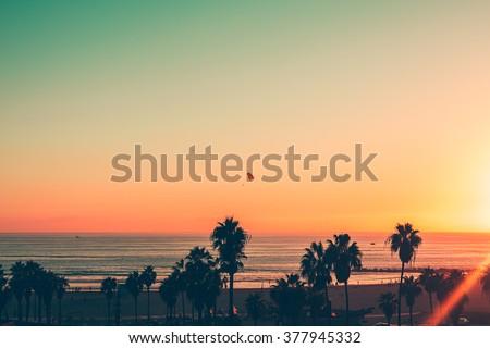 Venice Beach Sunset - LA - stock photo