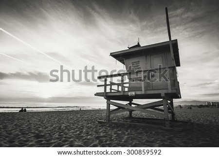 Venice beach, sunset. Lifeguard stand. Vacation, summer, travel, nature and life style concept. Vintage colors post processed.  - stock photo