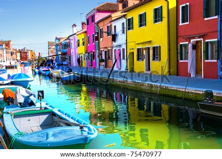 Venice, Burano island canal, small colored houses and the boat - stock photo