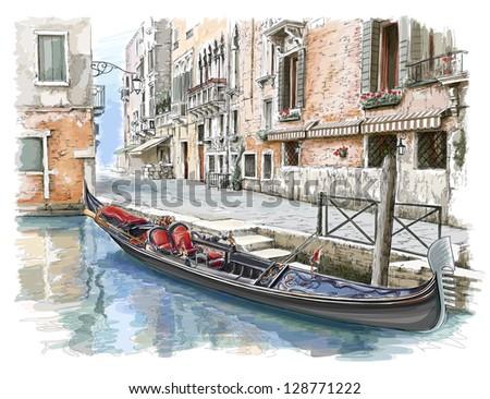 Venice - Calle Fondamenta Megio. Ancient building & gondola. Bitmap copy my vector - stock photo
