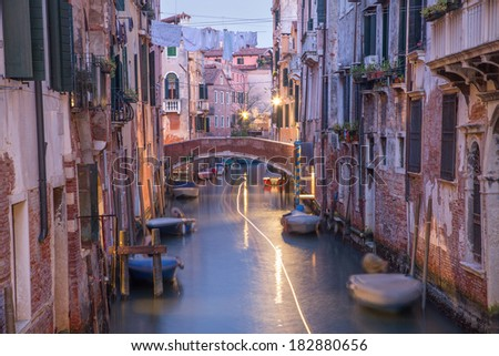 Venice - Canal in morning from Ponte del Fontego bridge