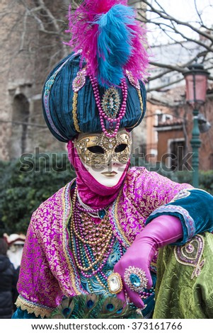 Venice Carnival Oriental Costume and Mask - stock photo