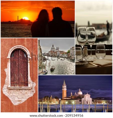 Venice city collage of photos - stock photo