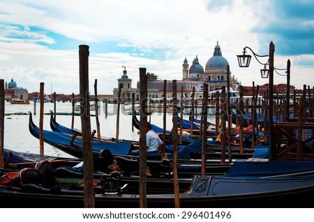 venice city italy gondola boats and architecture - stock photo