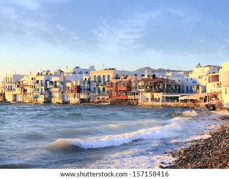 Venice embankment,  Mykonos, Greece - stock photo