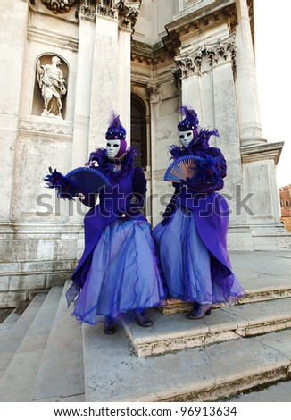 VENICE - FEBRUARY 21:  unidentified people in a carnival costume attend the end Carnival of Venice,  February 21, 2012 in Venice, Italy.