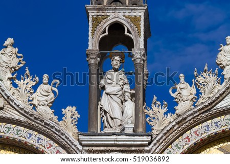 Venice - fine architectural details from the upper facade of the Cathedral of the St Mark
