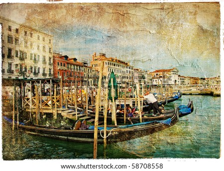 Venice, Grad channel - artwork in painting style - stock photo