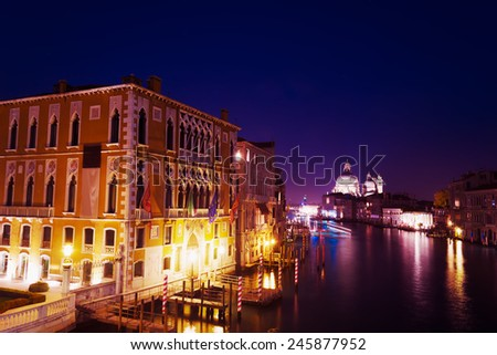 Venice Grand Canal on a clear night - stock photo