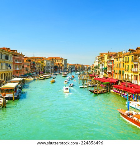 Venice grand canal or Canal Grande, view from Rialto bridge. Italy, Europe - stock photo