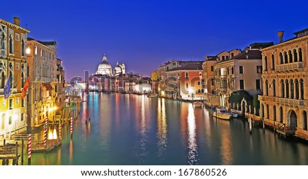 Venice Grand Canal panoramic view at night - stock photo