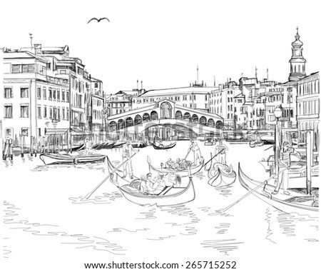 Venice - Grand Canal. View of the Rialto Bridge - stock photo